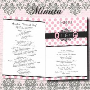 Minuta / Menu de la boda