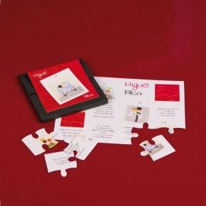 """Caja """"Puzzle rojo coche recién casados"""""""