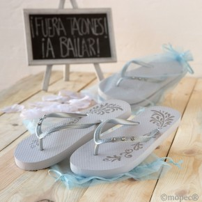 Sandalias Glam blancas plata