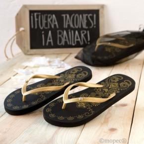 Sandalias Glam negras doradas